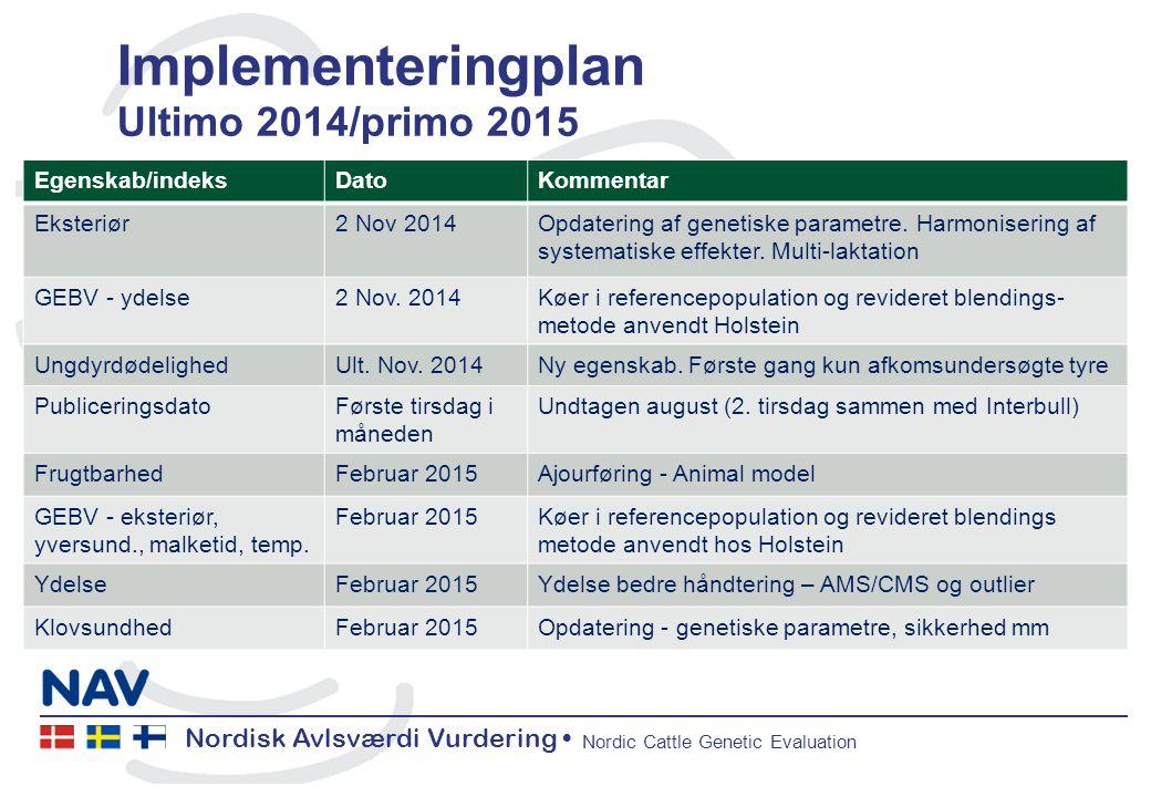 Nordisk Avlsværdi Vurdering Nordic Cattle Genetic Evaluation Implementeringplan Ultimo 2014/primo 2015 Egenskab/indeksDatoKommentar Eksteriør2 Nov 2014Opdatering af genetiske parametre.