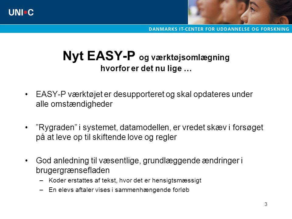 3 Nyt EASY-P og værktøjsomlægning hvorfor er det nu lige … EASY-P værktøjet er desupporteret og skal opdateres under alle omstændigheder Rygraden i systemet, datamodellen, er vredet skæv i forsøget på at leve op til skiftende love og regler God anledning til væsentlige, grundlæggende ændringer i brugergrænsefladen –Koder erstattes af tekst, hvor det er hensigtsmæssigt –En elevs aftaler vises i sammenhængende forløb