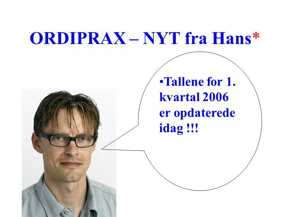 ORDIPRAX – NYT fra Hans* Tallene for 1. kvartal 2006 er opdaterede idag !!!