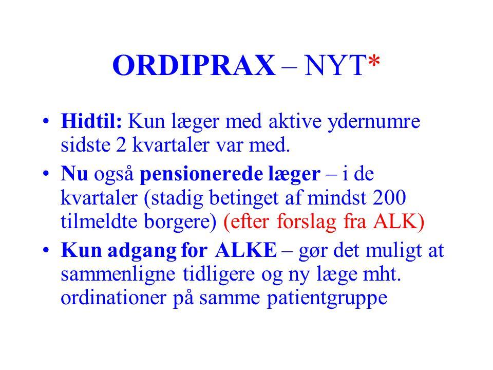 ORDIPRAX – NYT* Hidtil: Kun læger med aktive ydernumre sidste 2 kvartaler var med.