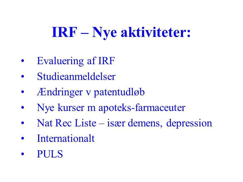 IRF – Nye aktiviteter: Evaluering af IRF Studieanmeldelser Ændringer v patentudløb Nye kurser m apoteks-farmaceuter Nat Rec Liste – især demens, depression Internationalt PULS