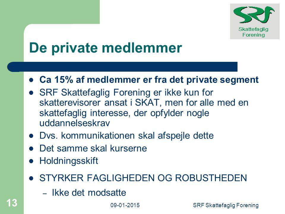 De private medlemmer Ca 15% af medlemmer er fra det private segment SRF Skattefaglig Forening er ikke kun for skatterevisorer ansat i SKAT, men for alle med en skattefaglig interesse, der opfylder nogle uddannelseskrav Dvs.