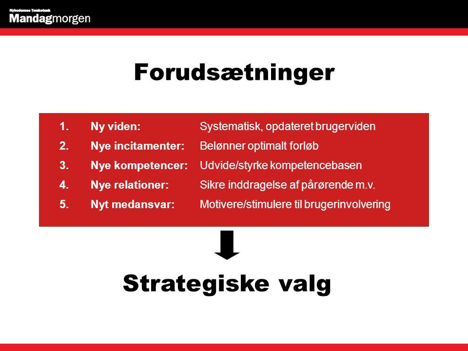 Forudsætninger Strategiske valg 1.Ny viden:Systematisk, opdateret brugerviden 2.Nye incitamenter:Belønner optimalt forløb 3.Nye kompetencer:Udvide/styrke kompetencebasen 4.Nye relationer:Sikre inddragelse af pårørende m.v.