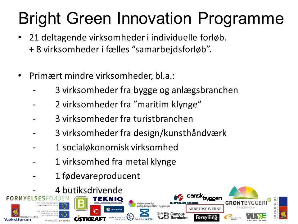21 deltagende virksomheder i individuelle forløb. + 8 virksomheder i fælles samarbejdsforløb .