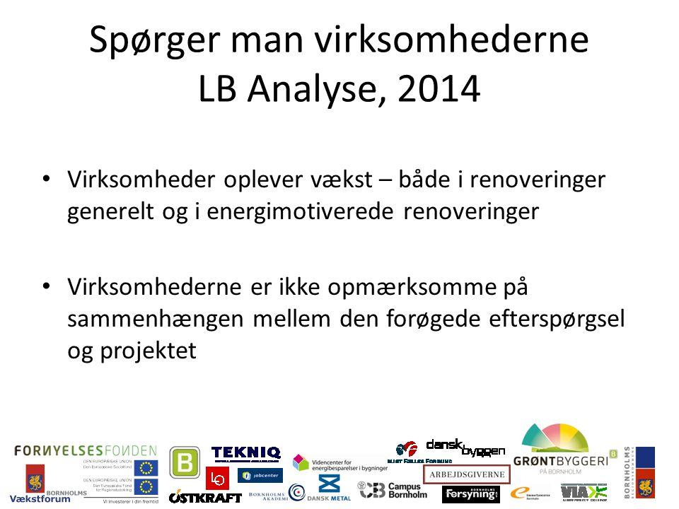 Spørger man virksomhederne LB Analyse, 2014 Virksomheder oplever vækst – både i renoveringer generelt og i energimotiverede renoveringer Virksomhederne er ikke opmærksomme på sammenhængen mellem den forøgede efterspørgsel og projektet