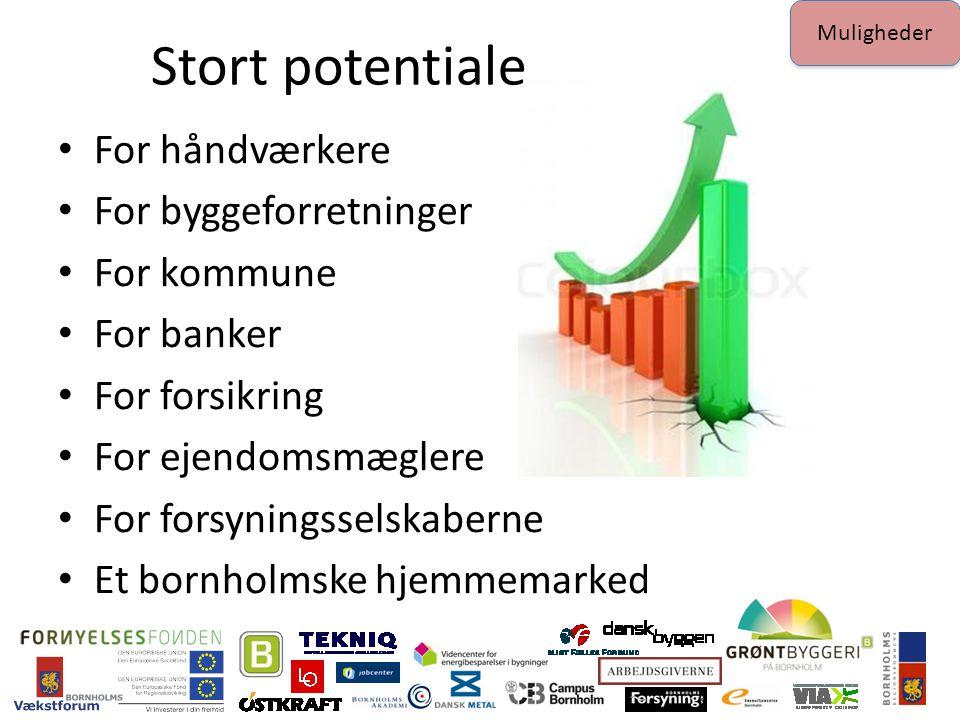 Stort potentiale For håndværkere For byggeforretninger For kommune For banker For forsikring For ejendomsmæglere For forsyningsselskaberne Et bornholmske hjemmemarked Muligheder
