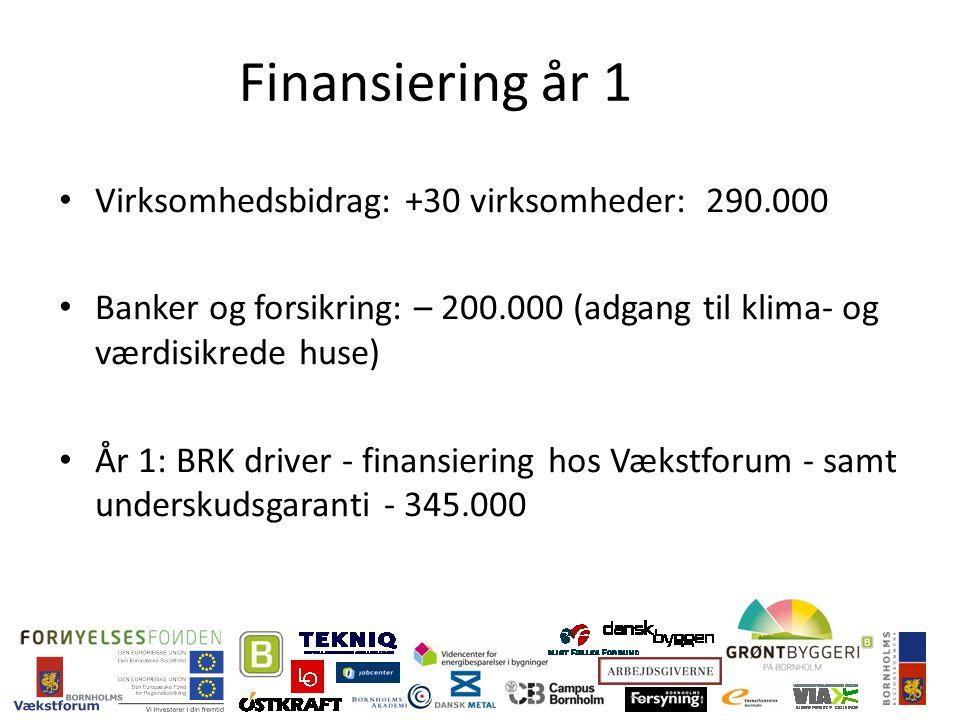 Finansiering år 1 Virksomhedsbidrag: +30 virksomheder: 290.000 Banker og forsikring: – 200.000 (adgang til klima- og værdisikrede huse) År 1: BRK driver - finansiering hos Vækstforum - samt underskudsgaranti - 345.000