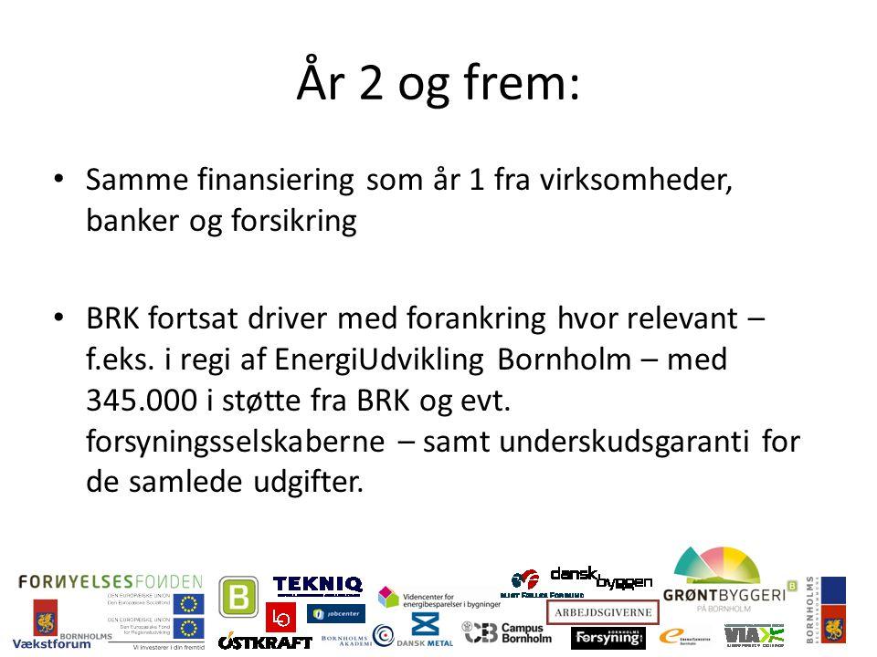 År 2 og frem: Samme finansiering som år 1 fra virksomheder, banker og forsikring BRK fortsat driver med forankring hvor relevant – f.eks.