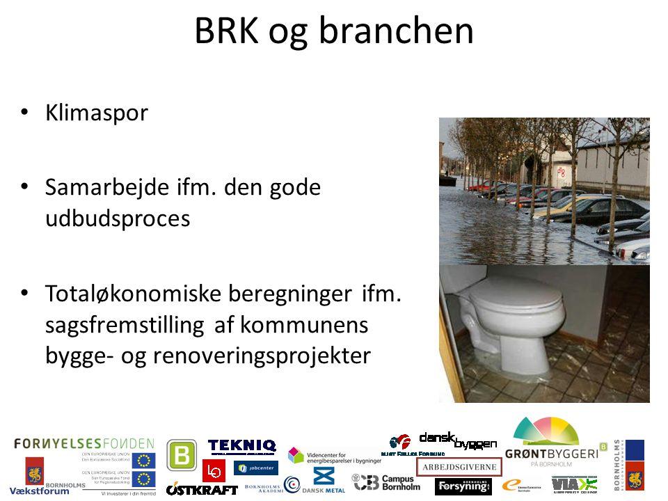 BRK og branchen Klimaspor Samarbejde ifm. den gode udbudsproces Totaløkonomiske beregninger ifm.