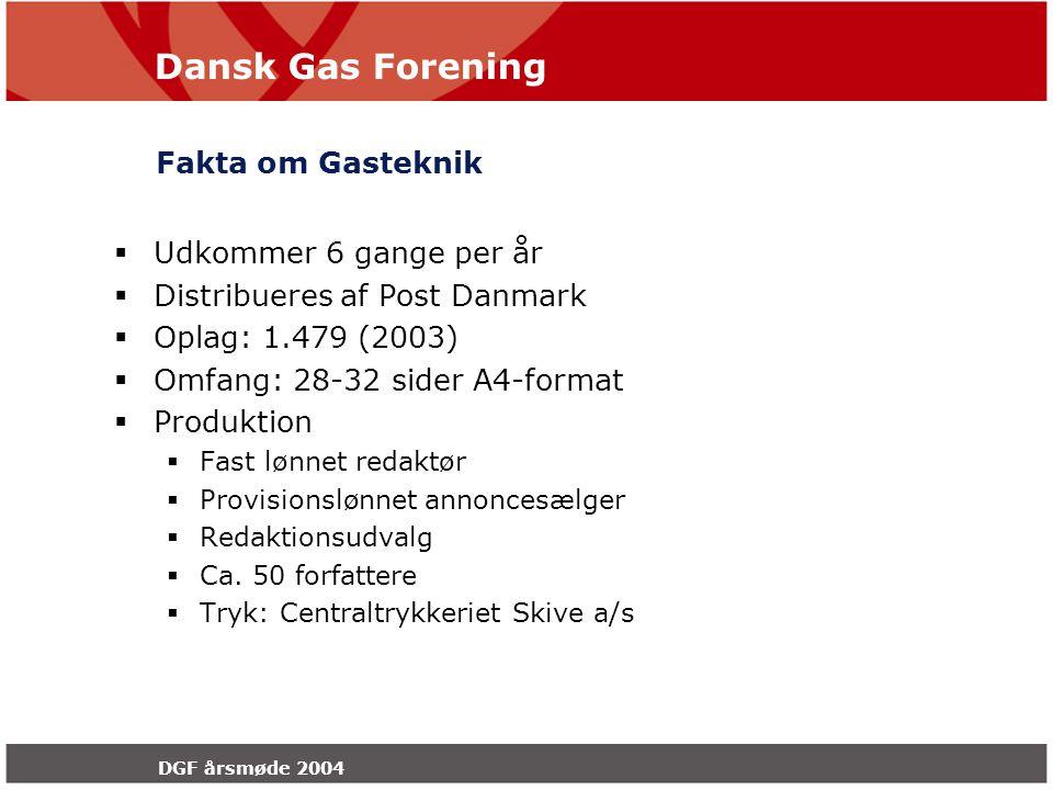 Dansk Gas Forening DGF årsmøde 2004 Fakta om Gasteknik  Udkommer 6 gange per år  Distribueres af Post Danmark  Oplag: 1.479 (2003)  Omfang: 28-32 sider A4-format  Produktion  Fast lønnet redaktør  Provisionslønnet annoncesælger  Redaktionsudvalg  Ca.
