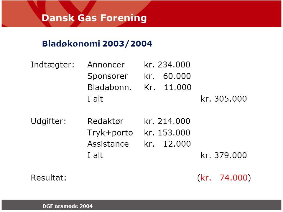 Dansk Gas Forening DGF årsmøde 2004 Bladøkonomi 2003/2004 Indtægter:Annoncerkr.