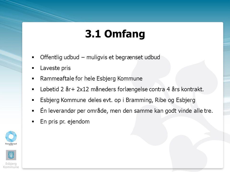 3.1 Omfang  Offentlig udbud – muligvis et begrænset udbud  Laveste pris  Rammeaftale for hele Esbjerg Kommune  Løbetid 2 år+ 2x12 måneders forlængelse contra 4 års kontrakt.