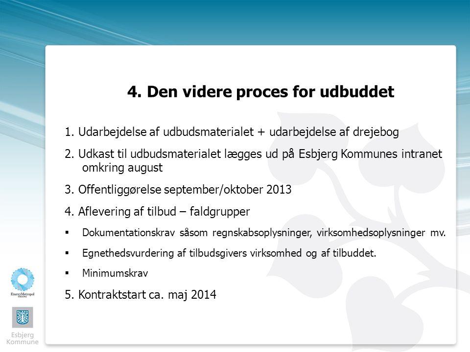 4. Den videre proces for udbuddet 1.