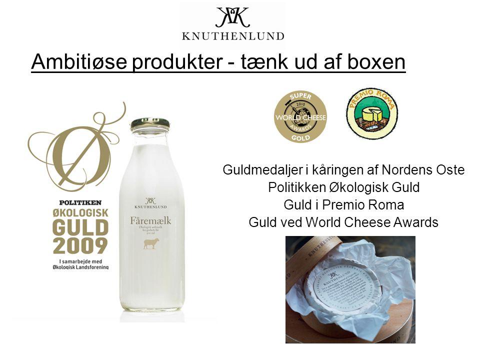 Guldmedaljer i kåringen af Nordens Oste Politikken Økologisk Guld Guld i Premio Roma Guld ved World Cheese Awards Ambitiøse produkter - tænk ud af boxen