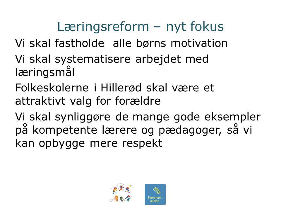 Læringsreform – nyt fokus Vi skal fastholde alle børns motivation Vi skal systematisere arbejdet med læringsmål Folkeskolerne i Hillerød skal være et attraktivt valg for forældre Vi skal synliggøre de mange gode eksempler på kompetente lærere og pædagoger, så vi kan opbygge mere respekt