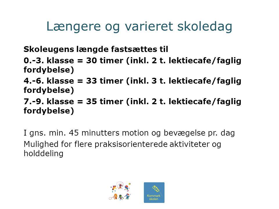 Længere og varieret skoledag Skoleugens længde fastsættes til 0.-3.
