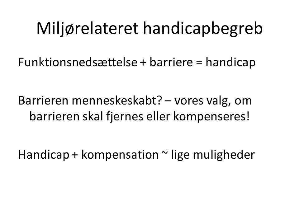 Miljørelateret handicapbegreb Funktionsnedsættelse + barriere = handicap Barrieren menneskeskabt.