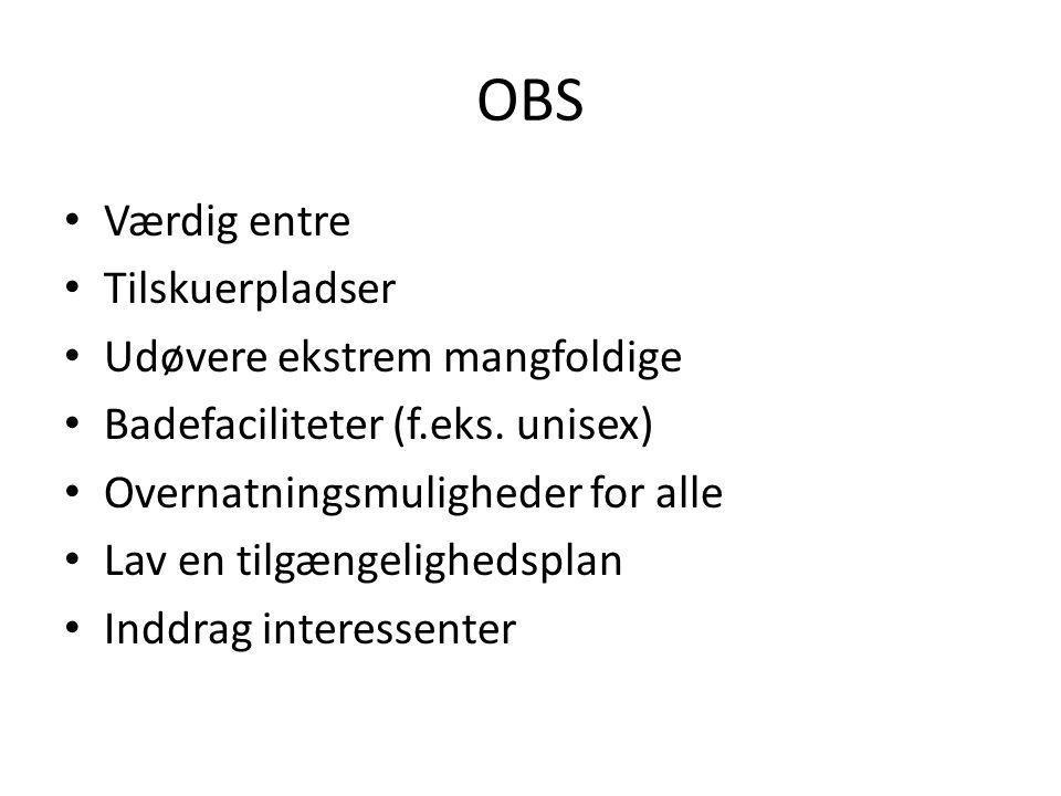 OBS Værdig entre Tilskuerpladser Udøvere ekstrem mangfoldige Badefaciliteter (f.eks.
