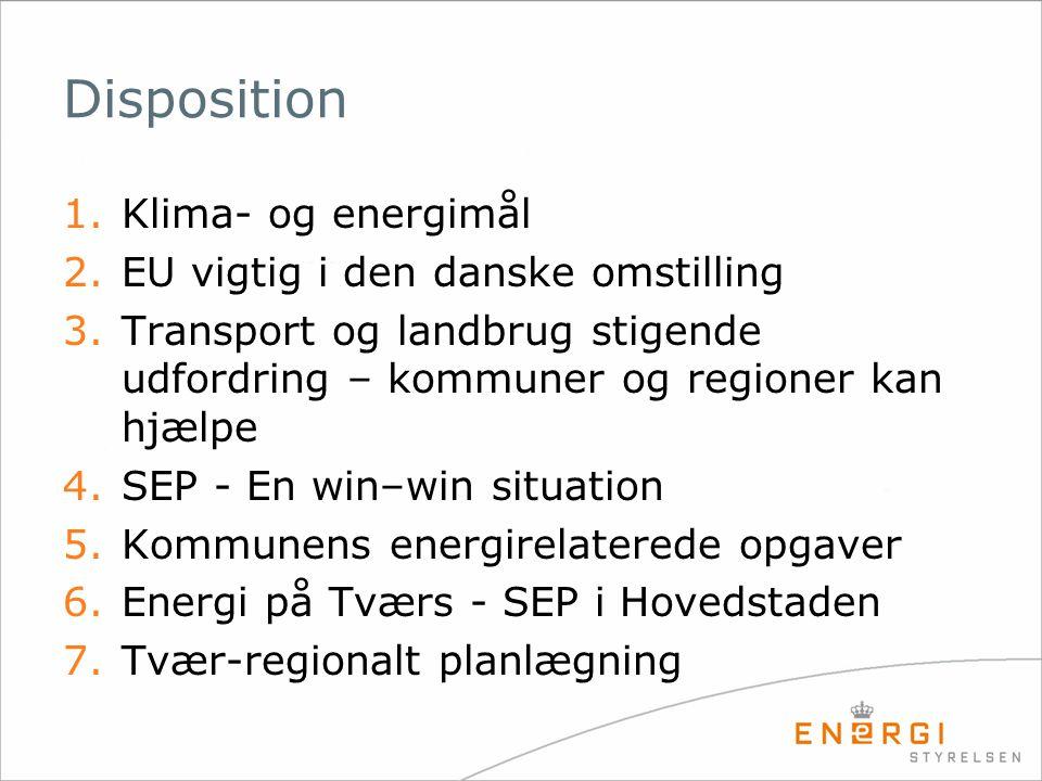 Disposition 1.Klima- og energimål 2.EU vigtig i den danske omstilling 3.Transport og landbrug stigende udfordring – kommuner og regioner kan hjælpe 4.SEP - En win–win situation 5.Kommunens energirelaterede opgaver 6.Energi på Tværs - SEP i Hovedstaden 7.Tvær-regionalt planlægning