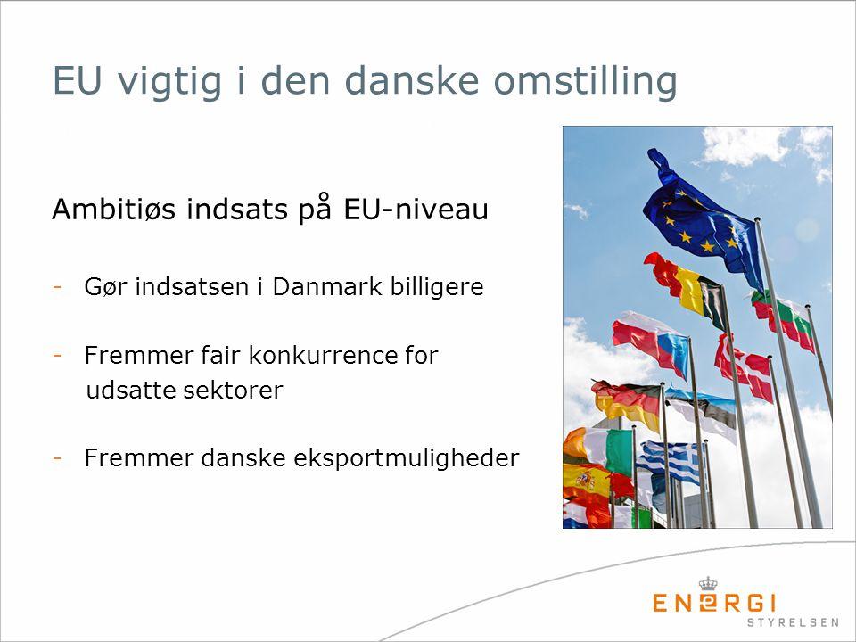 EU vigtig i den danske omstilling Ambitiøs indsats på EU-niveau -Gør indsatsen i Danmark billigere -Fremmer fair konkurrence for udsatte sektorer -Fremmer danske eksportmuligheder