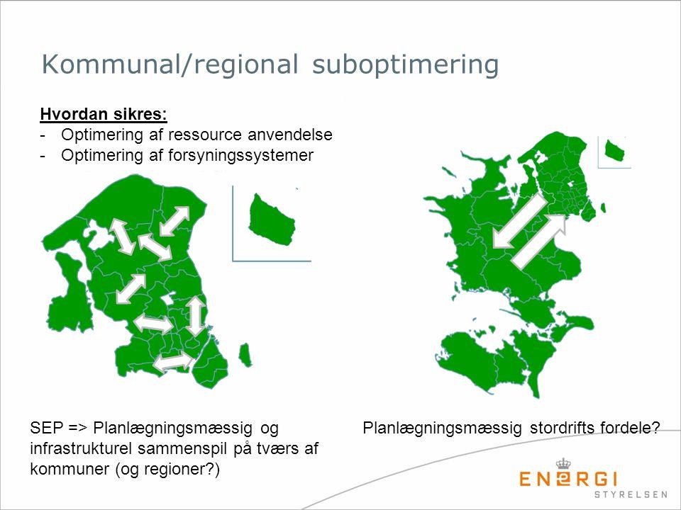 Kommunal/regional suboptimering Hvordan sikres: -Optimering af ressource anvendelse -Optimering af forsyningssystemer Planlægningsmæssig stordrifts fordele SEP => Planlægningsmæssig og infrastrukturel sammenspil på tværs af kommuner (og regioner )