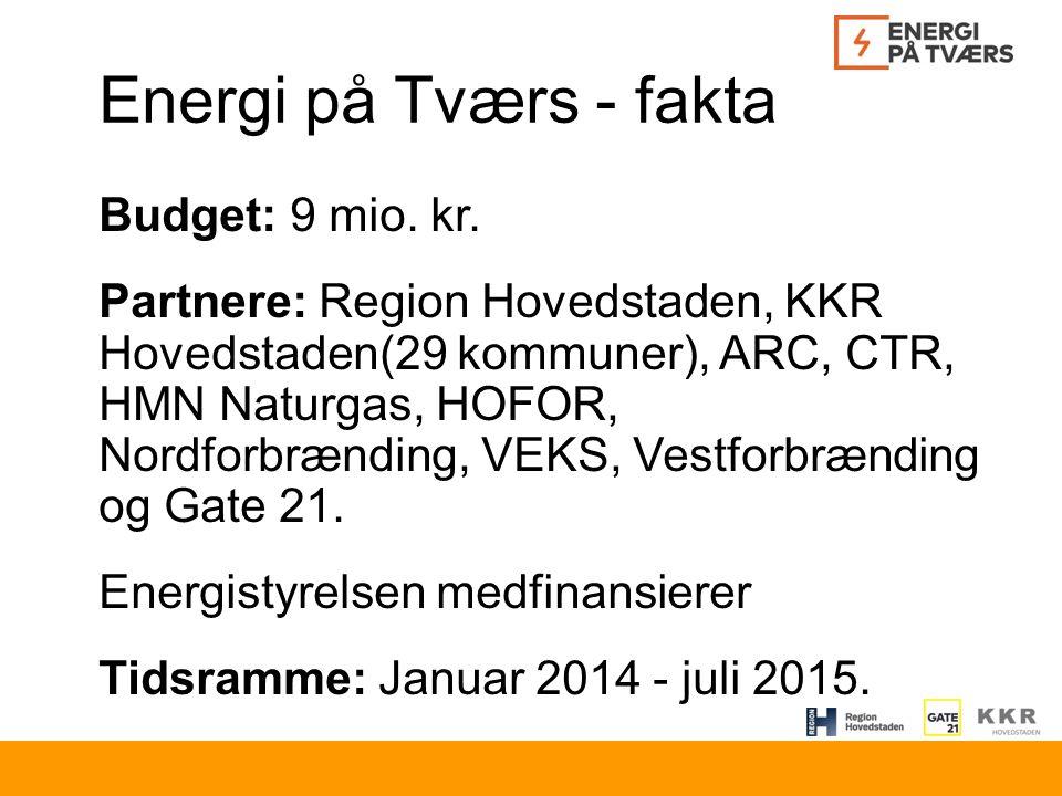 Energi på Tværs - fakta Budget: 9 mio. kr.