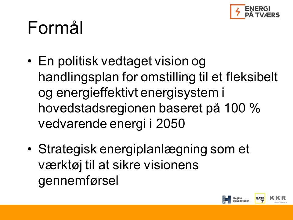 Formål En politisk vedtaget vision og handlingsplan for omstilling til et fleksibelt og energieffektivt energisystem i hovedstadsregionen baseret på 100 % vedvarende energi i 2050 Strategisk energiplanlægning som et værktøj til at sikre visionens gennemførsel