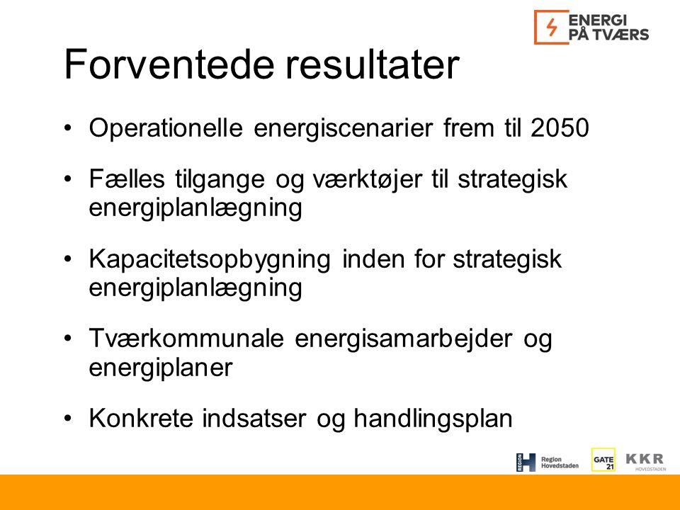 Forventede resultater Operationelle energiscenarier frem til 2050 Fælles tilgange og værktøjer til strategisk energiplanlægning Kapacitetsopbygning inden for strategisk energiplanlægning Tværkommunale energisamarbejder og energiplaner Konkrete indsatser og handlingsplan