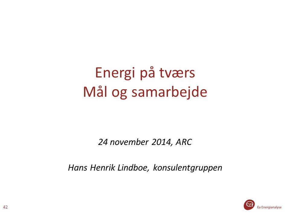 Energi på tværs Mål og samarbejde 24 november 2014, ARC Hans Henrik Lindboe, konsulentgruppen 42