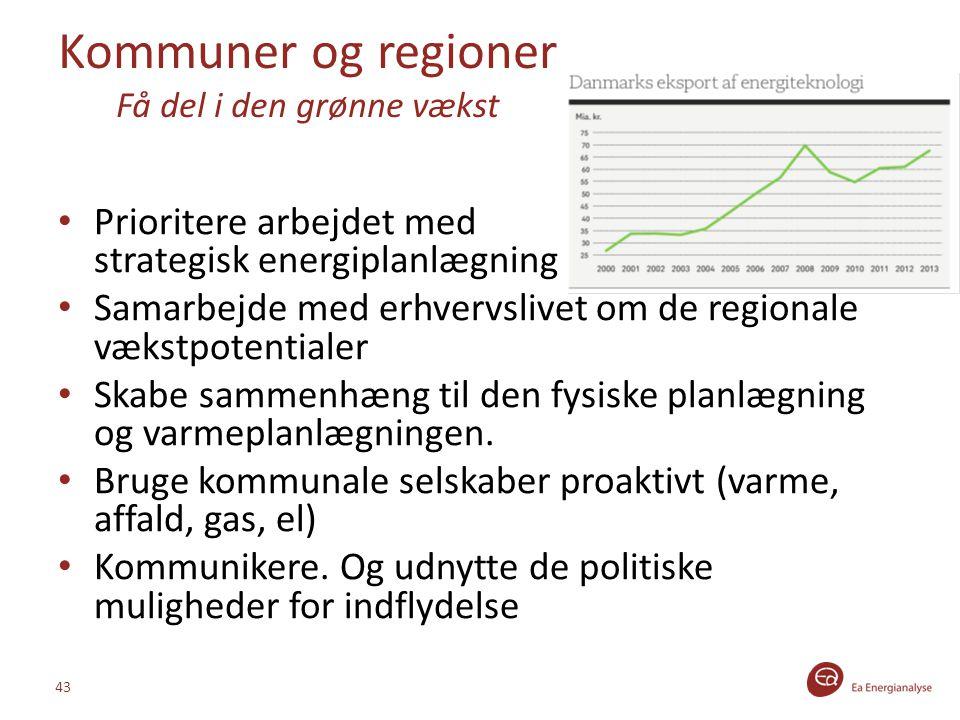 Kommuner og regioner Få del i den grønne vækst Prioritere arbejdet med strategisk energiplanlægning Samarbejde med erhvervslivet om de regionale vækstpotentialer Skabe sammenhæng til den fysiske planlægning og varmeplanlægningen.