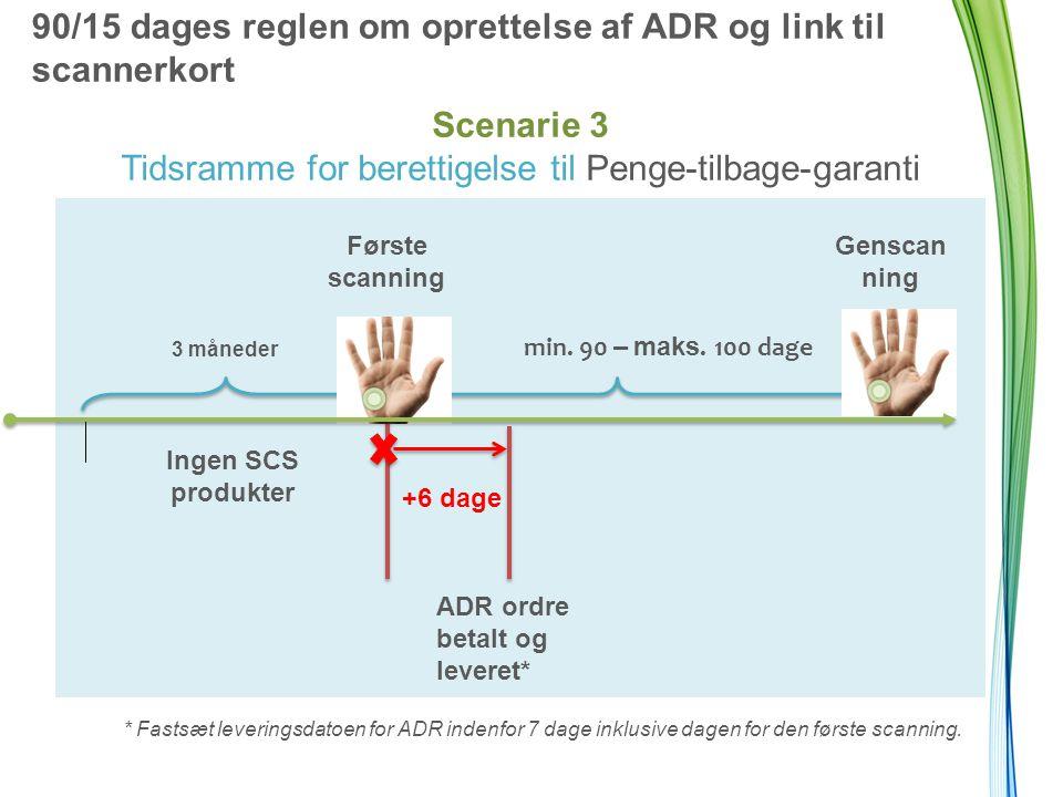90/15 dages reglen om oprettelse af ADR og link til scannerkort Scenarie 3 Tidsramme for berettigelse til Penge-tilbage-garanti * Fastsæt leveringsdatoen for ADR indenfor 7 dage inklusive dagen for den første scanning.