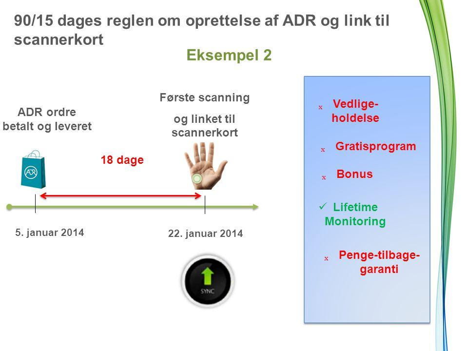 90/15 dages reglen om oprettelse af ADR og link til scannerkort Eksempel 2 18 dage ADR ordre betalt og leveret 5.