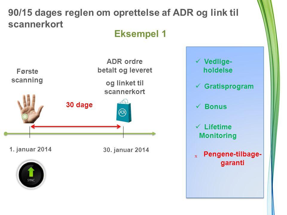 90/15 dages reglen om oprettelse af ADR og link til scannerkort Eksempel 1 Første scanning 30 dage ADR ordre betalt og leveret og linket til scannerkort 1.