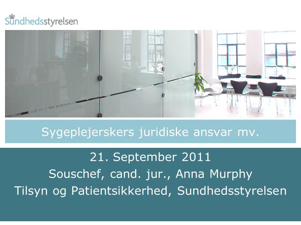 Sygeplejerskers juridiske ansvar mv. 21. September 2011 Souschef, cand.