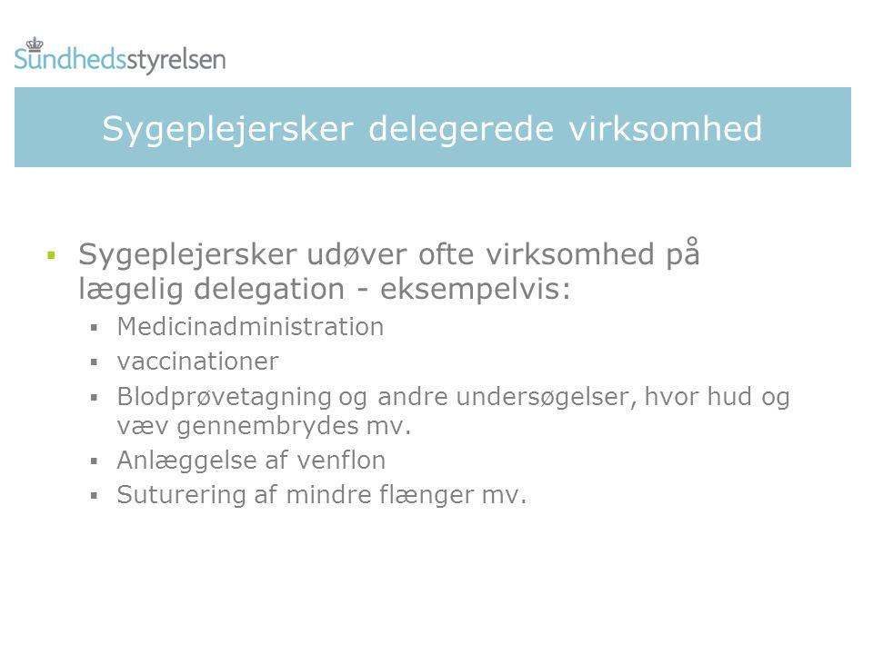 Sygeplejersker delegerede virksomhed  Sygeplejersker udøver ofte virksomhed på lægelig delegation - eksempelvis:  Medicinadministration  vaccinationer  Blodprøvetagning og andre undersøgelser, hvor hud og væv gennembrydes mv.