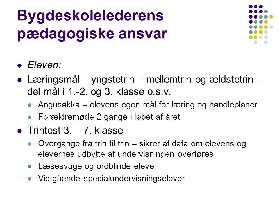 Bygdeskolelederens pædagogiske ansvar Eleven: Læringsmål – yngstetrin – mellemtrin og ældstetrin – del mål i 1.-2.