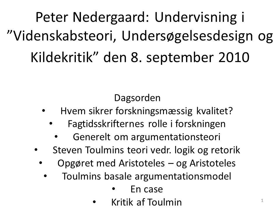 11 Peter Nedergaard: Undervisning i Videnskabsteori, Undersøgelsesdesign og Kildekritik den 8.
