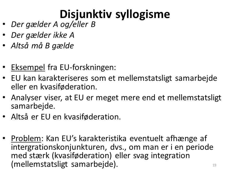 19 Disjunktiv syllogisme Der gælder A og/eller B Der gælder ikke A Altså må B gælde Eksempel fra EU-forskningen: EU kan karakteriseres som et mellemstatsligt samarbejde eller en kvasiføderation.