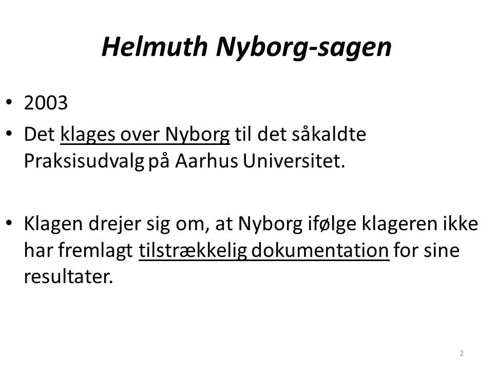 22 Helmuth Nyborg-sagen 2003 Det klages over Nyborg til det såkaldte Praksisudvalg på Aarhus Universitet.