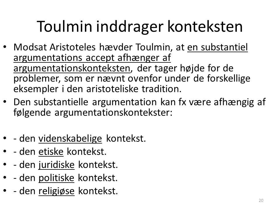 20 Toulmin inddrager konteksten Modsat Aristoteles hævder Toulmin, at en substantiel argumentations accept afhænger af argumentationskonteksten, der tager højde for de problemer, som er nævnt ovenfor under de forskellige eksempler i den aristoteliske tradition.