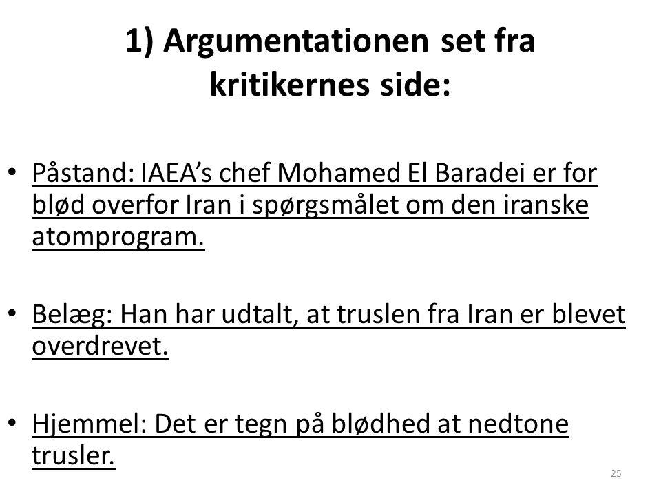 25 1) Argumentationen set fra kritikernes side: Påstand: IAEA's chef Mohamed El Baradei er for blød overfor Iran i spørgsmålet om den iranske atomprogram.
