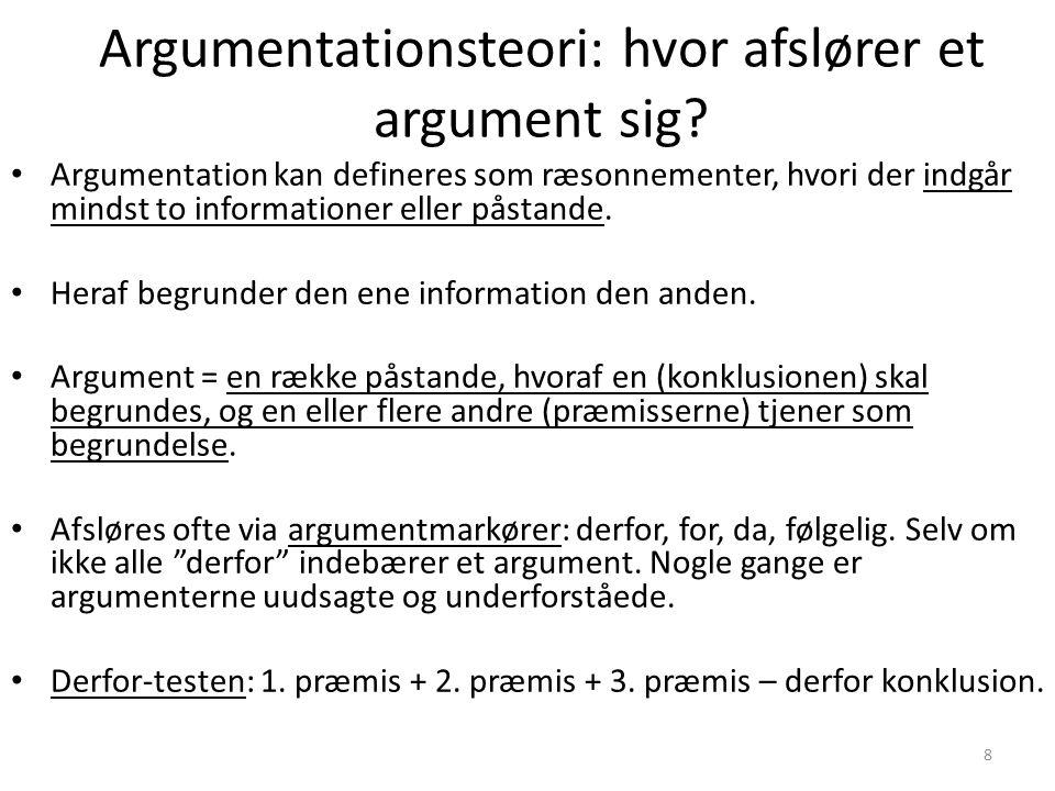 8 Argumentationsteori: hvor afslører et argument sig.