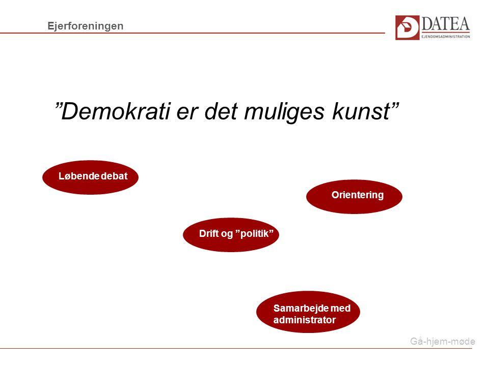 Gå-hjem-møde Demokrati er det muliges kunst Ejerforeningen OrienteringLøbende debatDrift og politik Samarbejde med administrator