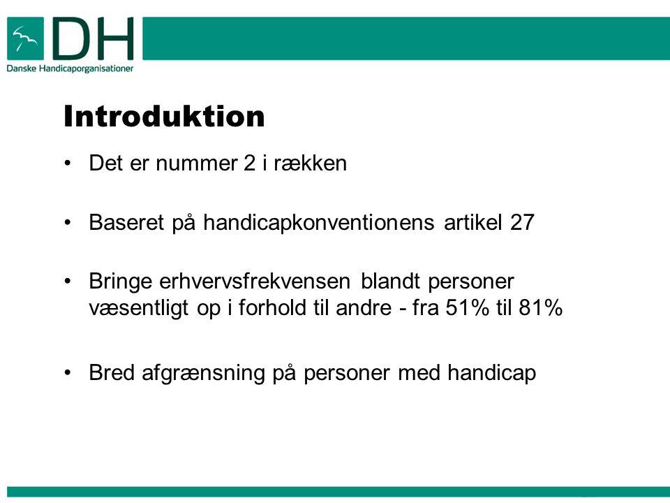 Introduktion Det er nummer 2 i rækken Baseret på handicapkonventionens artikel 27 Bringe erhvervsfrekvensen blandt personer væsentligt op i forhold til andre - fra 51% til 81% Bred afgrænsning på personer med handicap