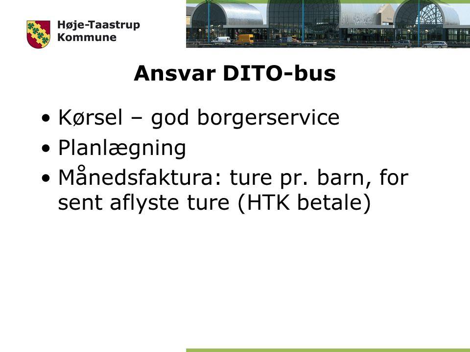 Ansvar DITO-bus Kørsel – god borgerservice Planlægning Månedsfaktura: ture pr.