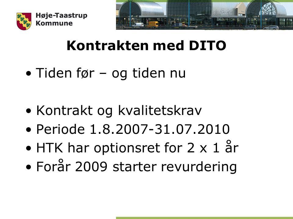 Kontrakten med DITO Tiden før – og tiden nu Kontrakt og kvalitetskrav Periode 1.8.2007-31.07.2010 HTK har optionsret for 2 x 1 år Forår 2009 starter revurdering