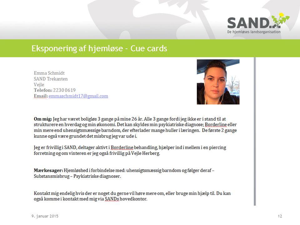 Eksponering af hjemløse - Cue cards 9. januar 201512