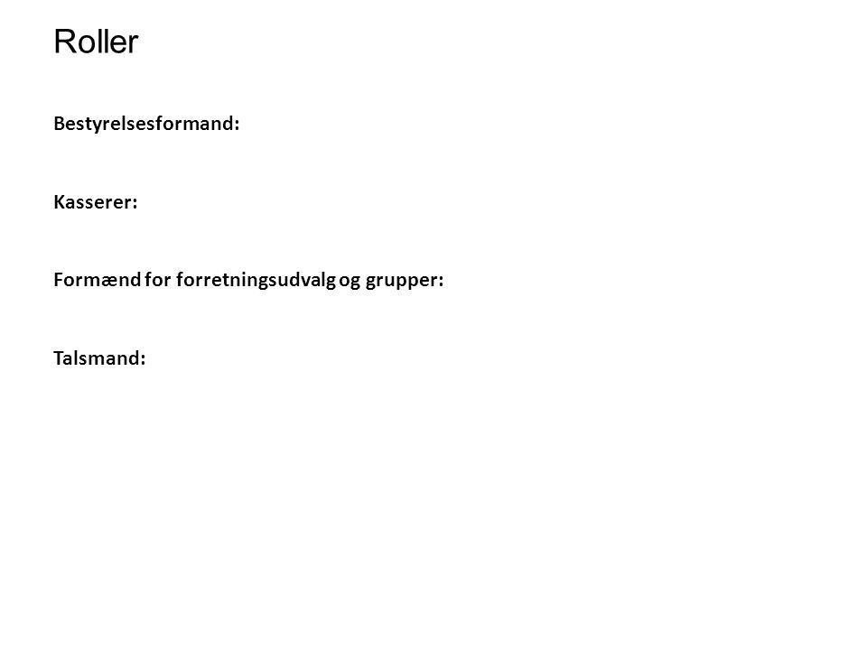 Roller Bestyrelsesformand: Kasserer: Formænd for forretningsudvalg og grupper: Talsmand: