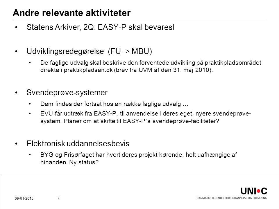 Andre relevante aktiviteter Statens Arkiver, 2Q: EASY-P skal bevares.