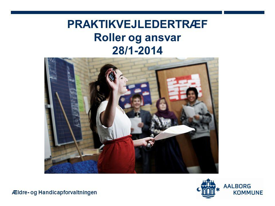 Ældre- og Handicapforvaltningen PRAKTIKVEJLEDERTRÆF Roller og ansvar 28/1-2014